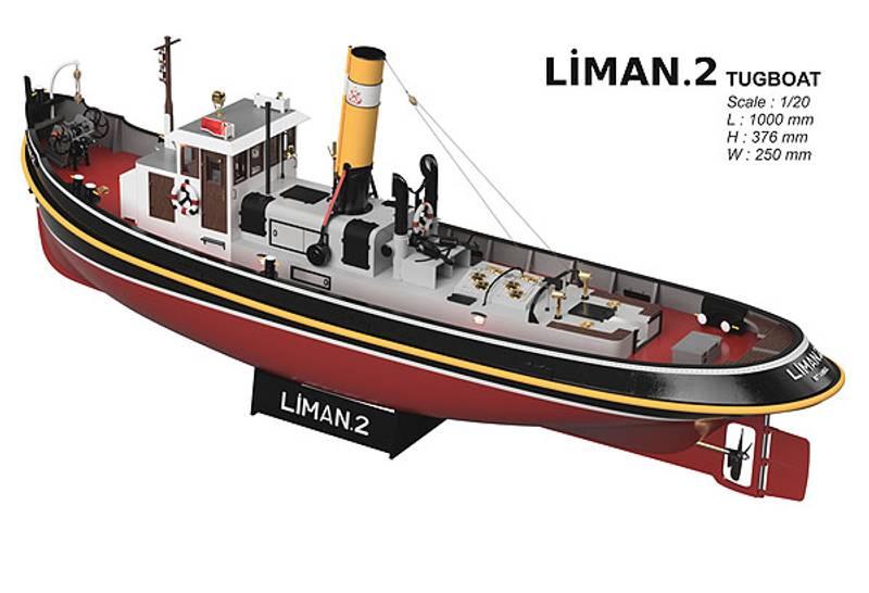 Liman 2 Historisk taubåt m/innredning og lys. 1m.